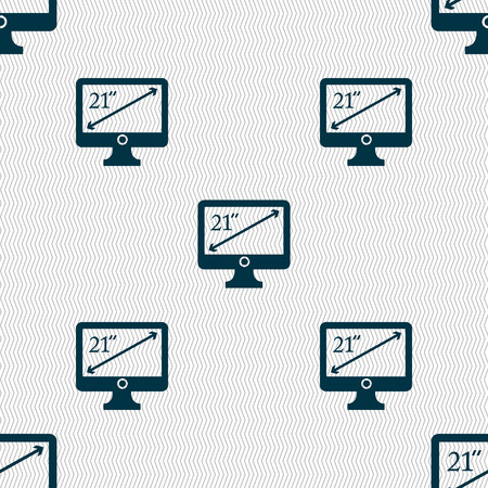 inches: diagonal of the monitor 21 inches icon sign. Seamless abstract background with geometric shapes. Vector illustration