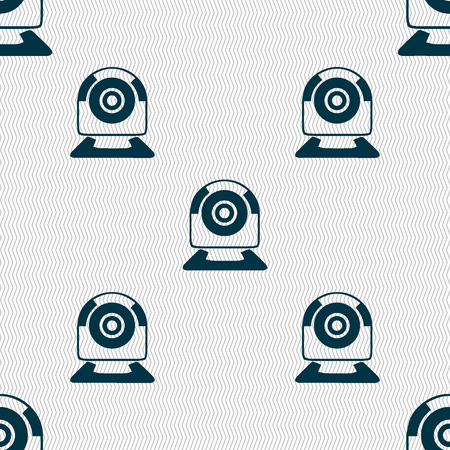 video chat: Webcam sign icon. Web video chat symbol. Camera chat. Seamless abstract background with geometric shapes. Vector illustration