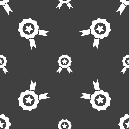 honor: Award, Medal of Honor icon sign. Seamless pattern on a gray background. Vector illustration