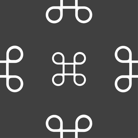 maestro: Keyboard Maestro icon. Seamless pattern on a gray background. Vector illustration