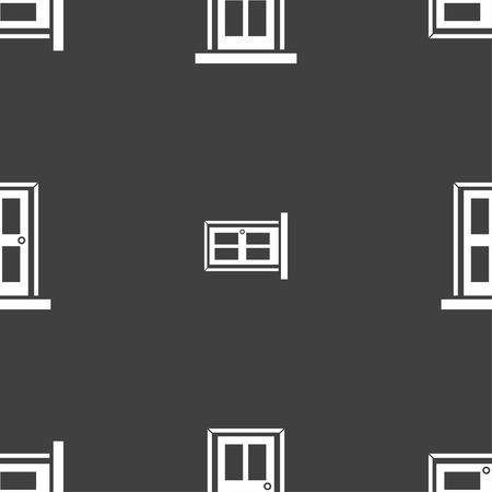doorknob: Door icon sign. Seamless pattern on a gray background. Vector illustration Illustration