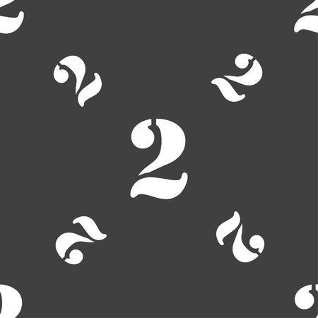 second: Second place award sign. Winner symbol. Step two.. Seamless pattern on a gray background. Vector illustration