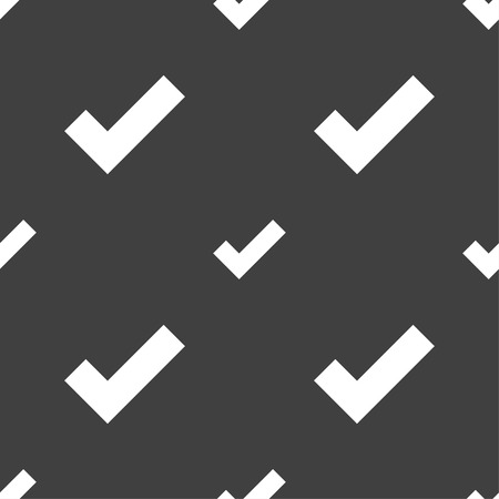 check mark sign: Check mark sign icon . Confirm approved symbol. Seamless pattern on a gray background. Vector illustration