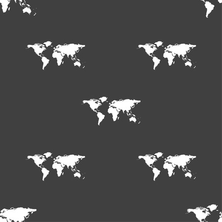 geography: Globe sign icon. World map geography symbol. Seamless pattern on a gray background. Vector illustration