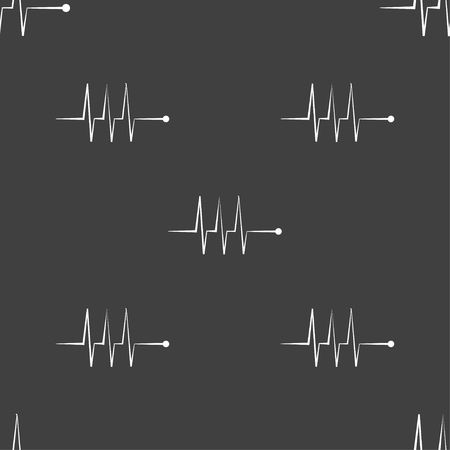 heart beats: Cardiogram monitoring sign icon. Heart beats symbol. Seamless pattern on a gray background. Vector illustration