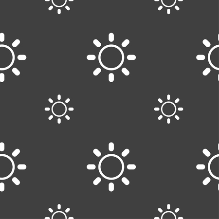 brightness: Brightness icon sign. Seamless pattern on a gray background. Vector illustration Illustration