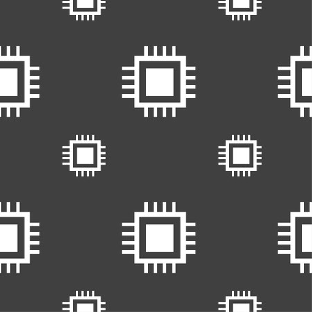 unit�: Central Processing Unit Icon. Technology scheme circle symbol. Seamless pattern on a gray background. Vector illustration