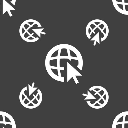 world wide: Internet sign icon. World wide web symbol. Cursor pointer. Seamless pattern on a gray background. Vector illustration