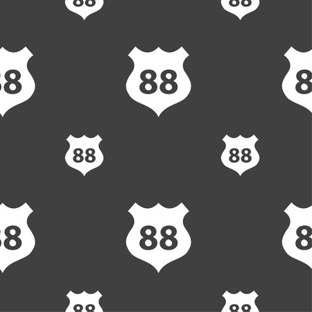 highway icon: Route 88 highway icon sign. Seamless pattern on a gray background. Vector illustration