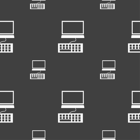 input device: Computer monitor and keyboard Icon. Seamless pattern on a gray background. Vector illustration