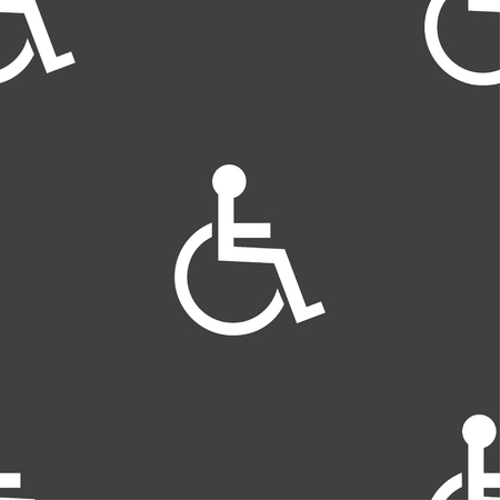 invalid: Disabled sign icon. Human on wheelchair symbol. Handicapped invalid sign. Seamless pattern on a gray background. Vector illustration Illustration
