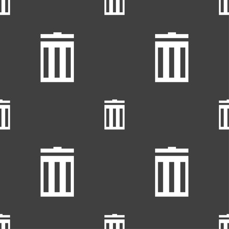 utilization: Recycle bin sign icon. Symbol. Seamless pattern on a gray background. Vector illustration