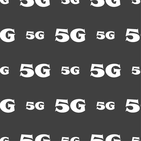 telecommunications technology: 5G sign icon. Mobile telecommunications technology symbol. Seamless pattern on a gray background. Vector illustration Illustration