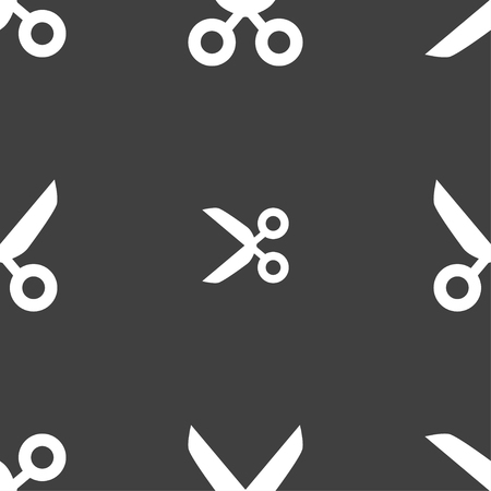 ciach: Scissors hairdresser sign icon. Tailor symbol. Seamless pattern on a gray background. Vector illustration