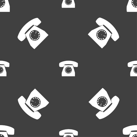 telefono antico: Retro simbolo icona del telefono. Seamless pattern su uno sfondo grigio. Illustrazione vettoriale