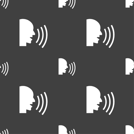 loudy: Talking Flat modern web icon. Seamless pattern on a gray background. Vector illustration