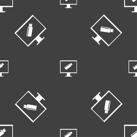 quality controller: usb flash drive and monitor sign icon. Video game symbol. Seamless pattern on a gray background. Vector illustration
