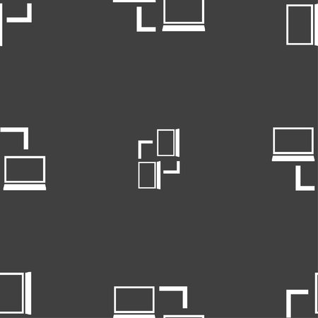 synchronization: Synchronization sign icon. Notebooks sync symbol. Data exchange. Seamless pattern on a gray background. Vector illustration