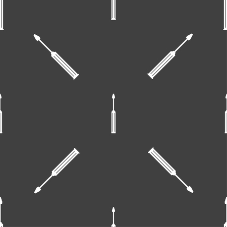 sig: Screwdriver tool sign icon. Fix it symbol. Repair sig. Seamless pattern on a gray background. Vector illustration