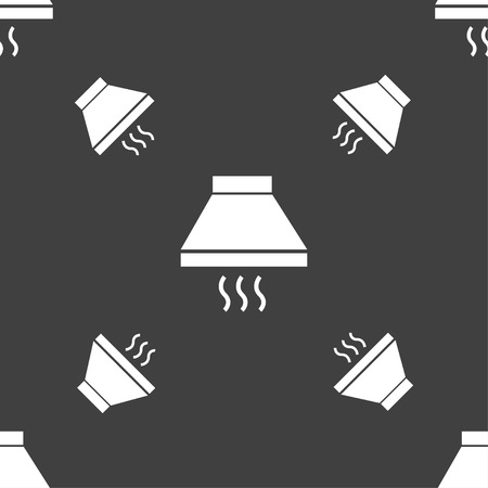 extractor: Kitchen hood icon sign. Seamless pattern on a gray background. Vector illustration Illustration