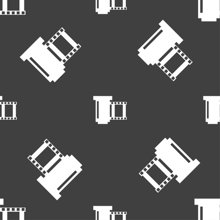 exposed: negative films icon symbol.. Seamless pattern on a gray background. Vector illustration