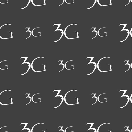 3g: 3G sign icon. Mobile telecommunications technology symbol. Seamless pattern on a gray background. Vector illustration Illustration