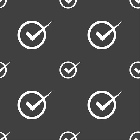 checkbox: Check mark sign icon. Checkbox button. Seamless pattern on a gray background. Vector illustration Illustration