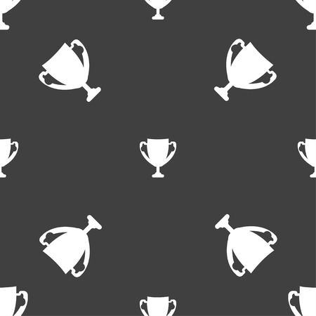 awarding: Winner cup sign icon. Awarding of winners symbol. Trophy. Seamless pattern on a gray background. Vector illustration Illustration