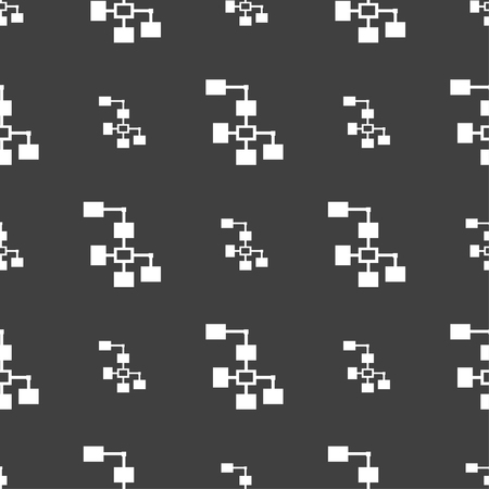 interconnect: Local Network icon sign. Seamless pattern on a gray background. Vector illustration