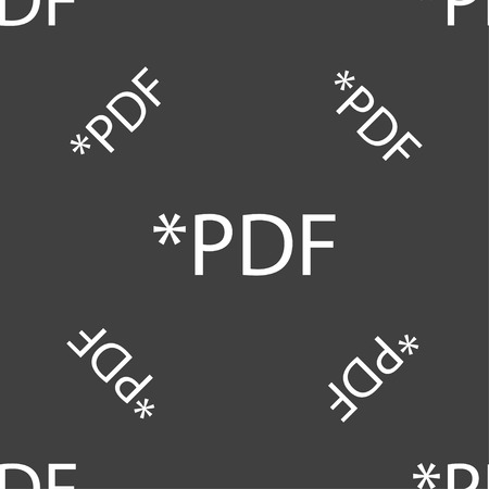 file extension: PDF file document icon. Download pdf button. PDF file extension symbol. Seamless pattern on a gray background. Vector illustration