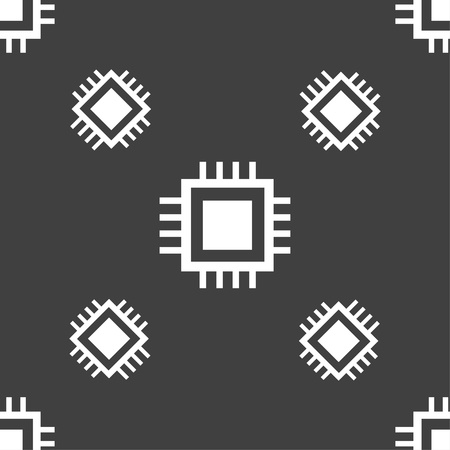 the unit: Central Processing Unit Icon. Technology scheme circle symbol. Seamless pattern on a gray background. Vector illustration