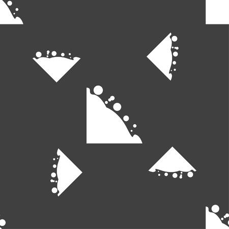 rockfall: Rockfall icon. Seamless pattern on a gray background. Vector illustration