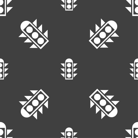 light signal: Traffic light signal icon sign. Seamless pattern on a gray background. Vector illustration