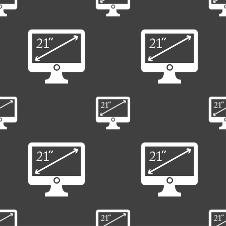 21: diagonal of the monitor 21 inches icon sign. Seamless pattern on a gray background. Vector illustration