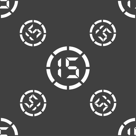 corner clock: 15 second stopwatch icon sign. Seamless pattern on a gray background. Vector illustration