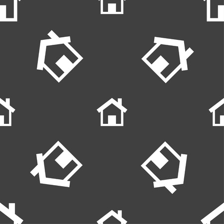 main: Home sign icon. Main page button. Navigation symbol. Seamless pattern on a gray background. Vector illustration Illustration