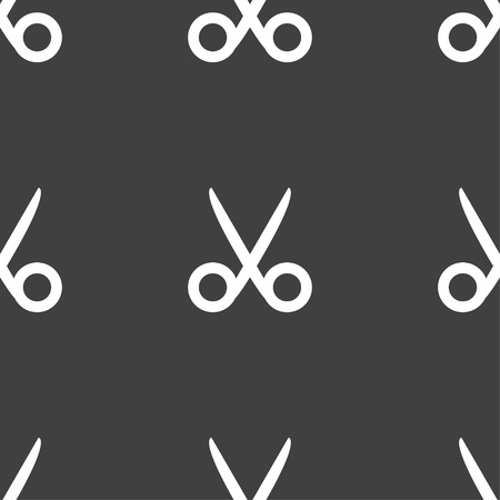 disclosed: Scissors hairdresser sign icon. Tailor symbol. Seamless pattern on a gray background. Vector illustration