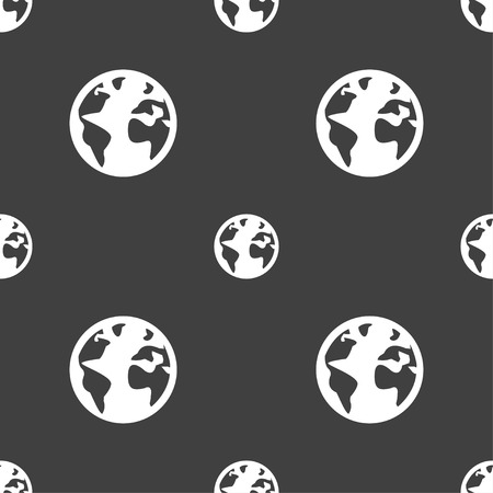 geography background: Globe sign icon. World map geography symbol. Globes on stand for studying. Seamless pattern on a gray background. Vector illustration