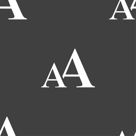 enlarge: Enlarge font, AA icon sign. Seamless pattern on a gray background. Vector illustration Illustration