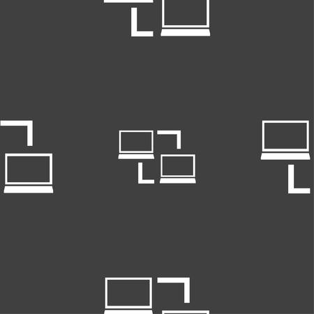 data synchronization: Synchronization sign icon. Notebooks sync symbol. Data exchange. Seamless pattern on a gray background. Vector illustration