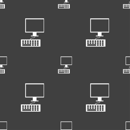 qwerty: Computer monitor and keyboard Icon. Seamless pattern on a gray background. Vector illustration