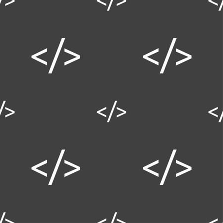 hypertext: Code sign icon. Programming language symbol. Seamless pattern on a gray background. Vector illustration Illustration