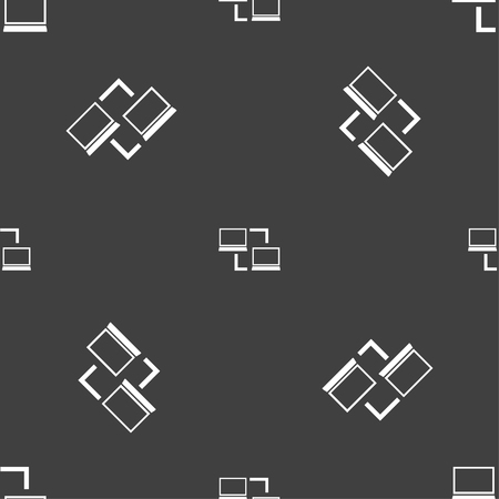 sync: Synchronization sign icon. Notebooks sync symbol. Data exchange. Seamless pattern on a gray background. Vector illustration