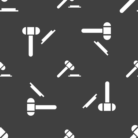 arbitrate: judge hammer icon. Seamless pattern on a gray background. Vector illustration