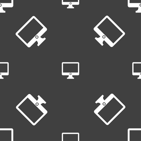 widescreen: Computer widescreen monitor sign icon. Seamless pattern on a gray background. Vector illustration