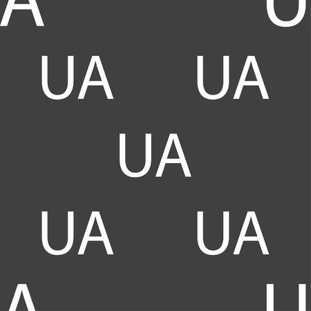slavonic: Ukraine sign icon. symbol. UA navigation. Seamless pattern on a gray background. Vector illustration