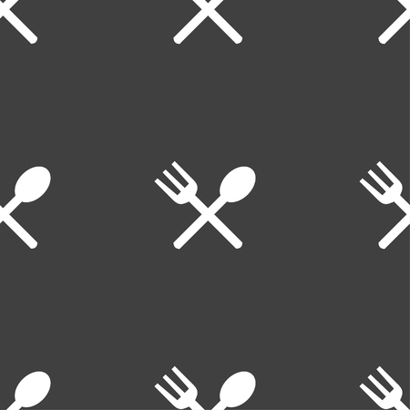 crosswise: Fork and spoon crosswise, Cutlery, Eat icon sign. Seamless pattern on a gray background. Vector illustration Illustration