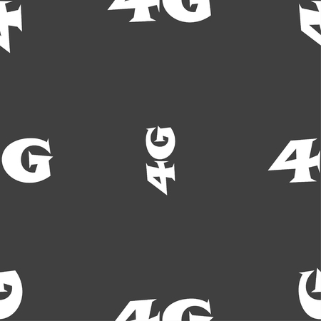 4g: 4G sign icon. Mobile telecommunications technology symbol. Seamless pattern on a gray background. Vector illustration Illustration