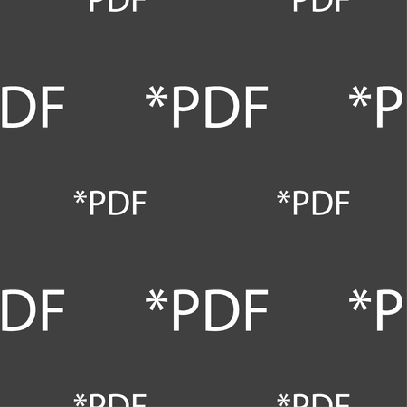 pdf: PDF file document icon. Download pdf button. PDF file extension symbol. Seamless pattern on a gray background. Vector illustration