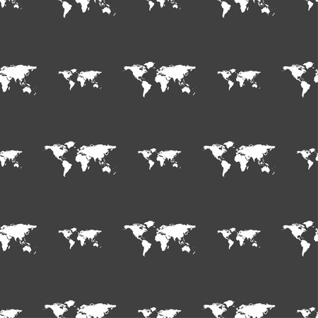 geography background: Globe sign icon. World map geography symbol. Seamless pattern on a gray background. Vector illustration